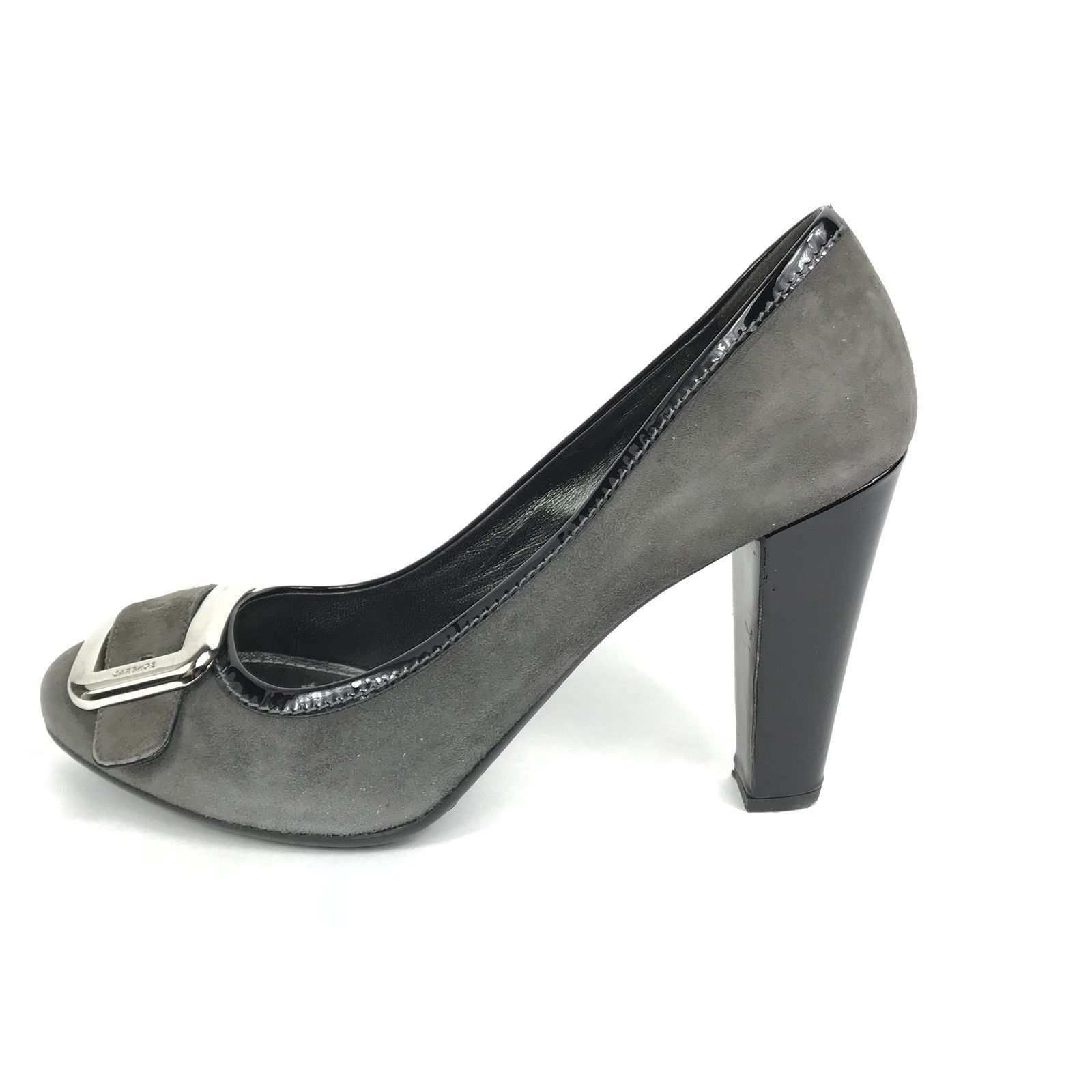 Original Car Shoe by Prada Suede Stacked Heel Patent Sz 40 9.5 10