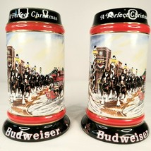 Vintage Lot Of 2 1992 Budweiser Holiday Christmas Beer Steins Clydesdale - $19.58