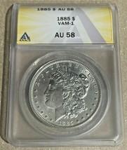 1885-P Nice Philadelphia Minted ANACS AU58 VAM-1 Morgan Silver Dollar - $57.85