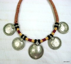 vintage antique old silver necklace choker pendant tribal belly dance disk - $265.32