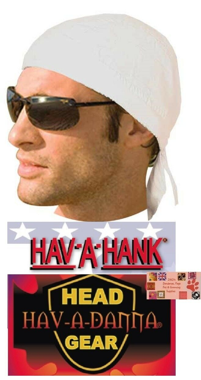 Primary image for Hav-A-Danna WHITE LINED DU DOO RAG FITTED Tied BANDANA Biker Skull Head Wrap Cap