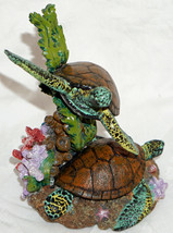 Colorful Sea Turtle Figurine Swimming & on Bottom Coral Sea Weed Etc Hea... - £22.51 GBP