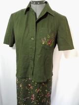 R&K ORIGINALS Linen Blend Dress Set sz 6 Olive Green Floral maxi +jacket... - $12.86
