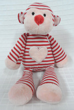 "Animal Adventure 2014 Pink Red Striped Heart Monkey Valentines Plush Stuffed 11"" - $9.90"