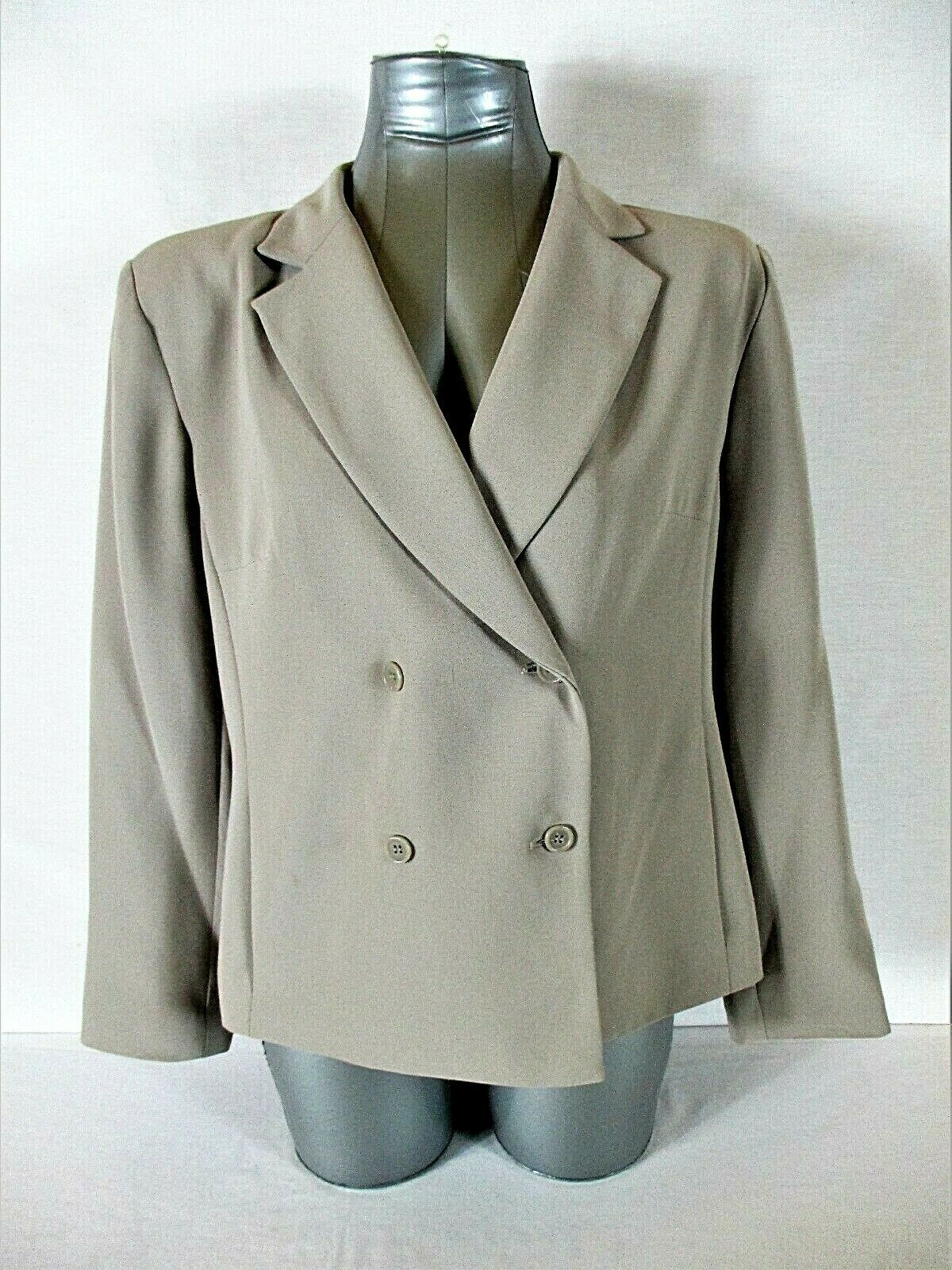 LAURA SCOTT womens 12P L/S taupe DOUBLE BREASTED suit jacket (A6)