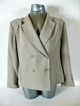LAURA SCOTT womens 12P L/S taupe DOUBLE BREASTED suit jacket (A6) - $32.88