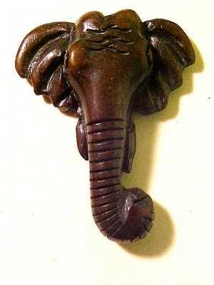 Elephant Carved Stained Bone Head Bead