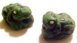 Frog 4 Small Green Clay Beads - $2.95