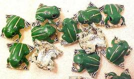 Frog 3 Enameled Double Hole Metal Beads - $2.95