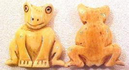 Frog Carved Flat Sitting Bone Bead - $2.95