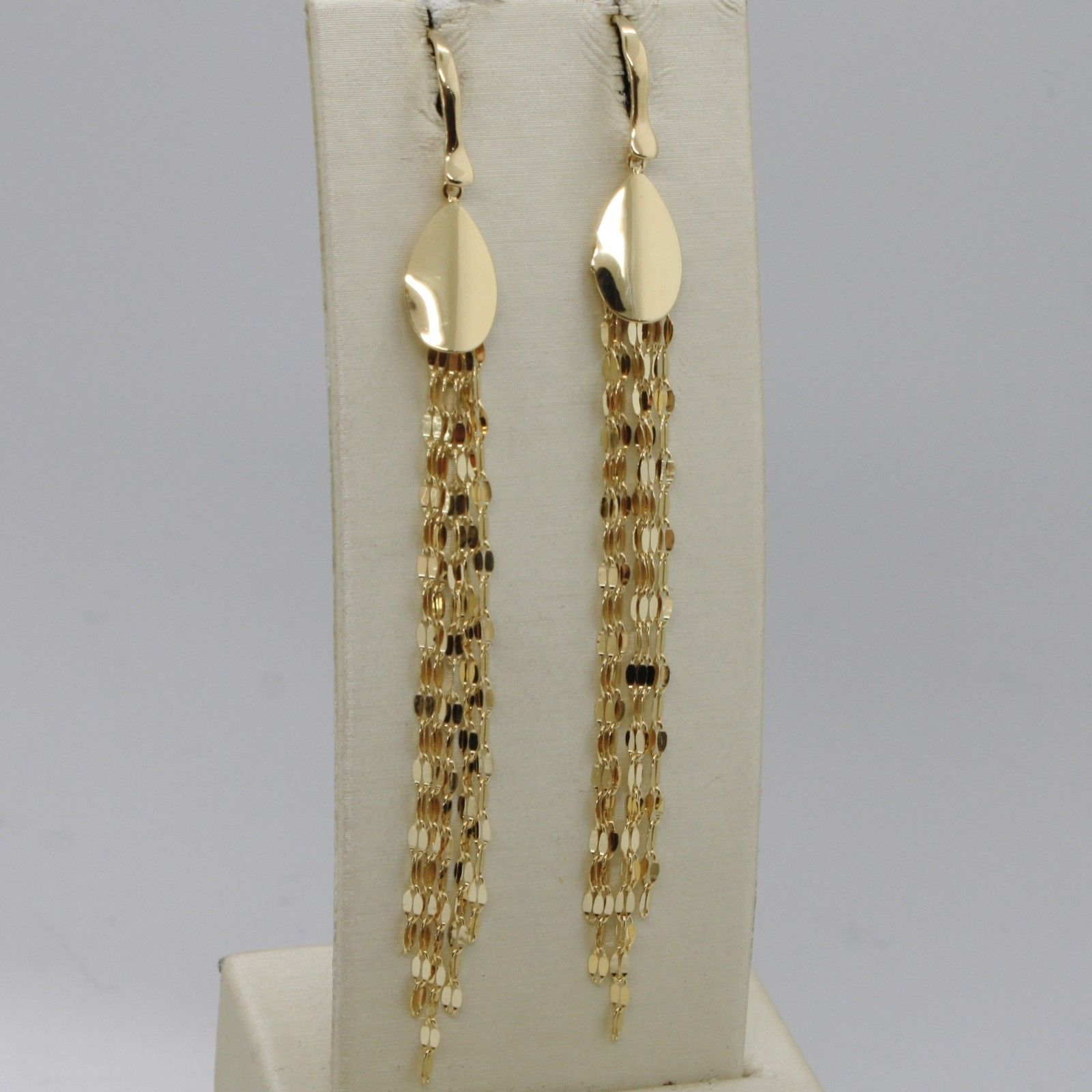 SOLID 18K YELLOW GOLD LONG PENDANT EARRINGS WITH DROP AND FRINGES, MADE IN ITALY