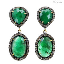Diamond Pave 925 Sterling Silver Emerald Dangle Earrings 14K Gold Fine J... - $513.25