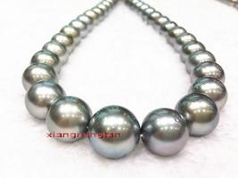 "Australia Top NATURAL 17""12-15mm REAL south sea black gray pearl necklac... - $5,130.00"
