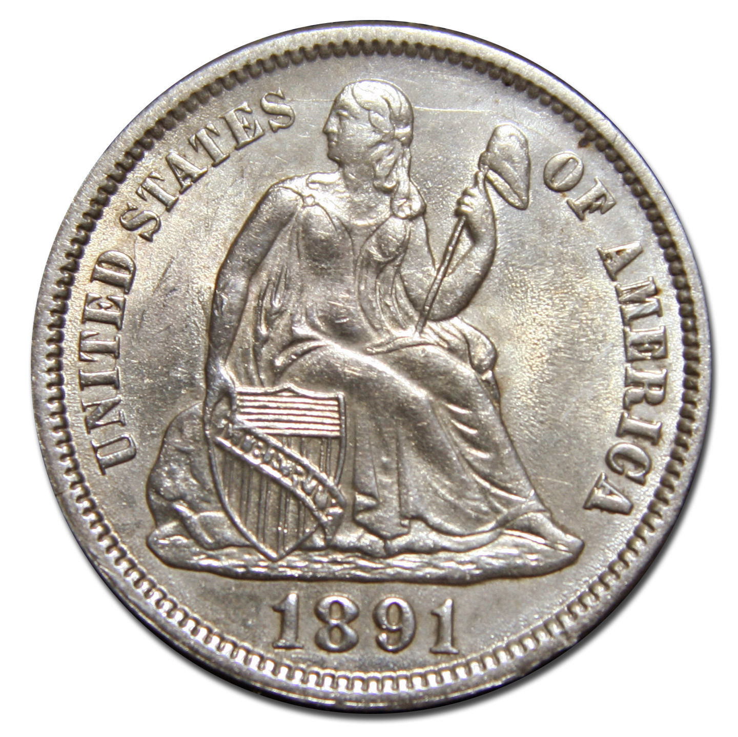 1891  Silver Seated Liberty Dime 10c # MZ 2939