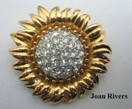 Retired JOAN RIVERS  Gold Tone Sun Flower Crystal Rhinestone Brooch Pin - $37.95