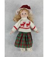 "Blonde Hair Blue Eyed Porcelain 14"" Tall Doll - $16.08"