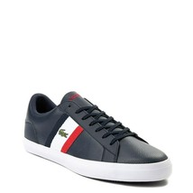 Mens Lacoste Lerond Athletic Shoe Style Navy White Red Leather Upper NEW - $100.00