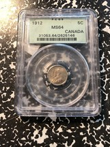 1912 Canada 5 Cent Silver PCGS MS64 Lot#G855 Nice UNC Example! OGH - $327.25