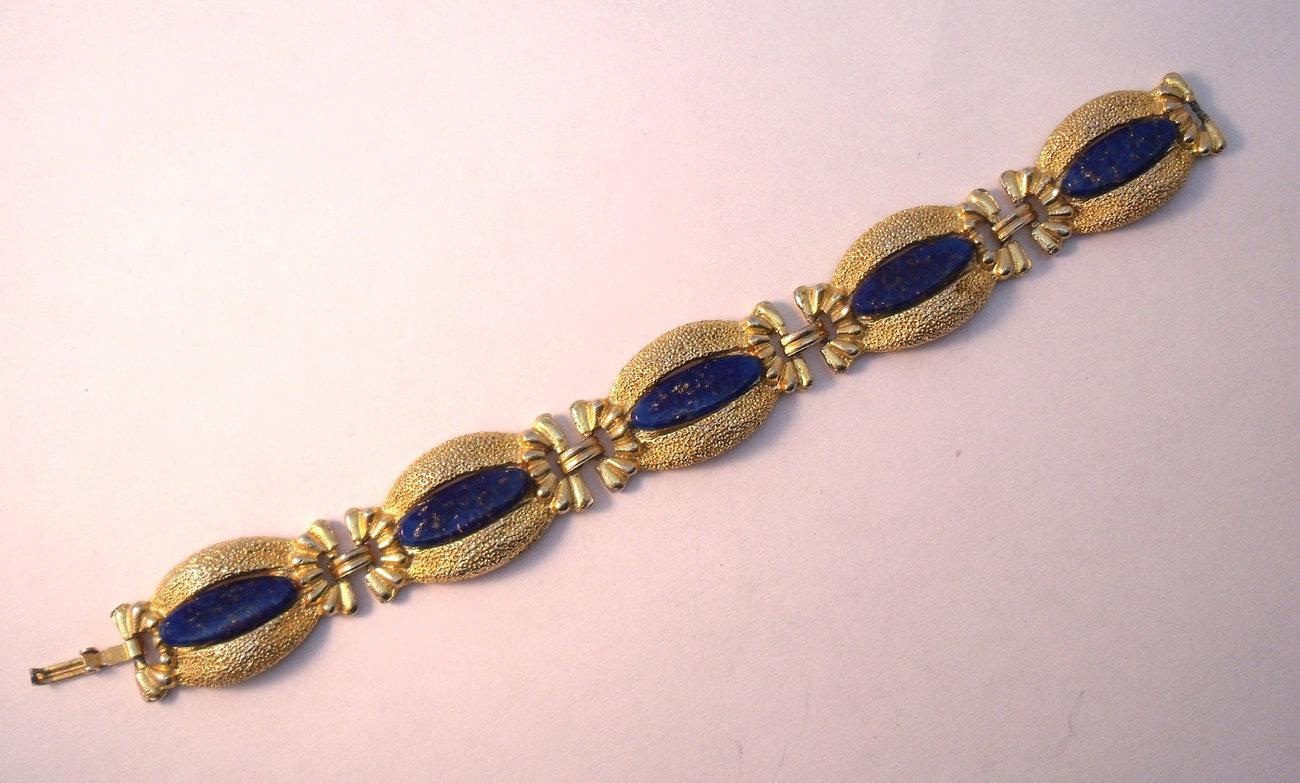 Vintage blue glass and gold tone bracelet
