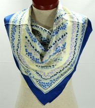 "Blue and Ivory Silk Scarf, ECHO Signed Floral, Small Flowers, 30"" Square... - $8.00"