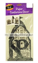 HALLOWEEN 3pc Set PAPER TOMBSTONE DECOR Great For Parties RIP Black Glit... - $2.97