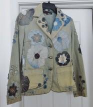 MISS SIXTY ITALY Jacket Coat Denim Distress Look Floral Acid Wash Blue S... - $49.95