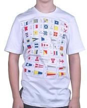 Asphalt Yacht Club Uomo Bianco Alfa T-Shirt Marittima Segnale Bandiere Nwt