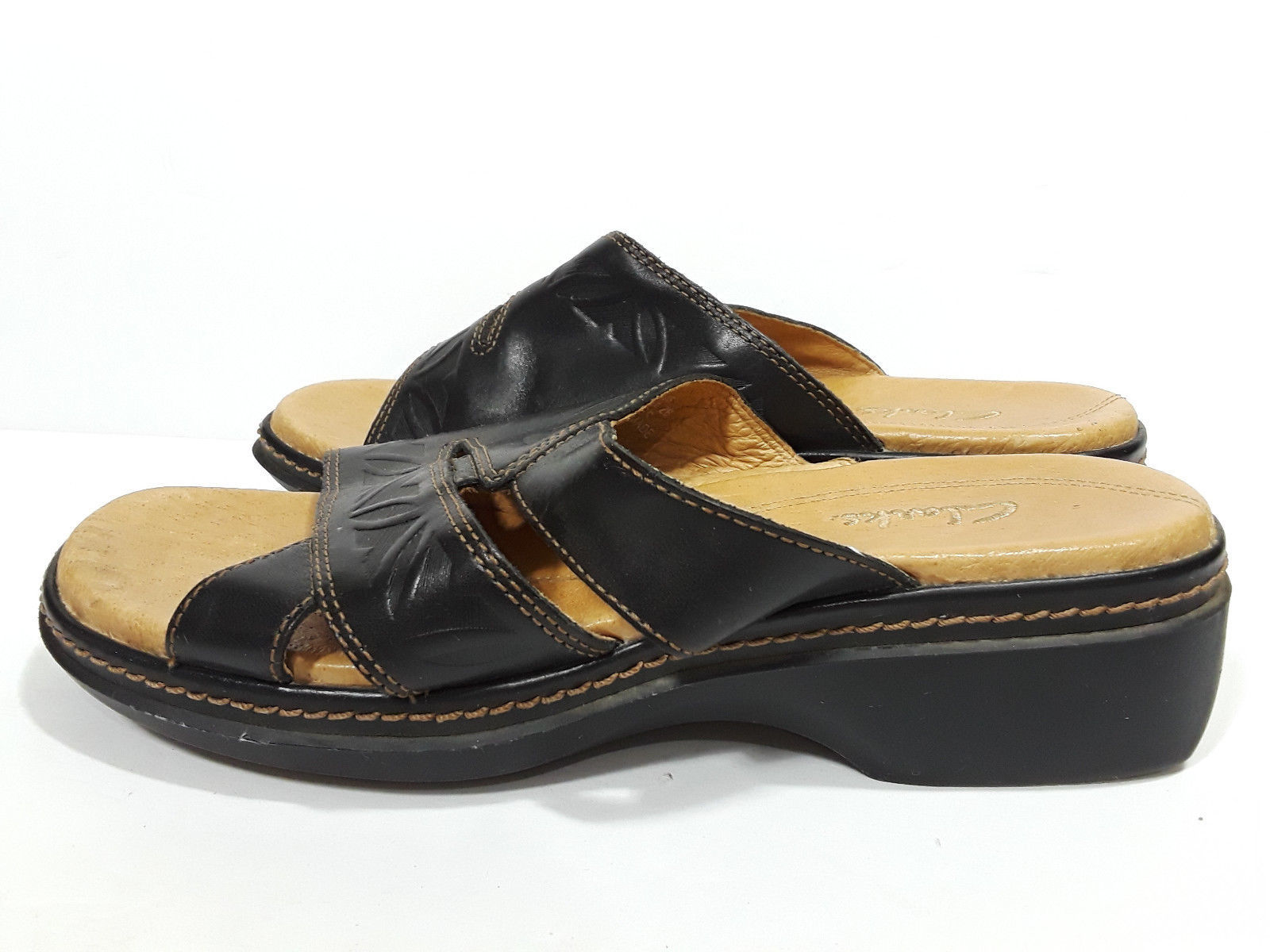 CLARKS Black Leather Sandals Womens 6M Heel and 50 similar items