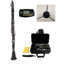 Merano B Flat Black Clarinet,Case,11 Reeds+Metro Tuner+Clarinet Stand - $96.99