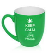 16oz Bistro Mug Ceramic Coffee Tea Glass Cup Keep Calm and Love Frogs - $14.99