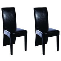Set of 2 Black Dining Side Chairs Modern High Back Artificial Leather Ki... - £66.89 GBP
