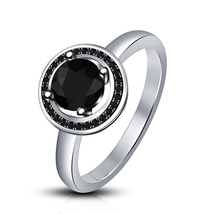 Round Cut Black Diamond White Gold Plated 925 Silver Solitaire W/ Accents Ring - $73.88