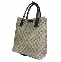 Auth GUCCI GG Pattern PVC Canvas Leather Browns Tote Bag GT1961  - $359.00