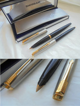 PARKER 45 SET fountain pen and ball point pen in steel and black In gift... - $49.00