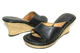 ❤️ BORN Drilles Mexico Black Leather Espadrille-Wedge Slide Sandals 7 M ... - $23.74