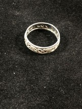 Henry Wexel Or Romega Sterling Silver Band Ring Flower Scroll Sz 6 CUT-OUT - $29.69