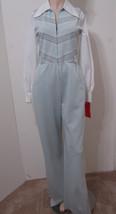 VIVENTE Vintage 70's Jumpsuit LS Wide Leg Blue Stripe White Blouse Pocke... - $269.99