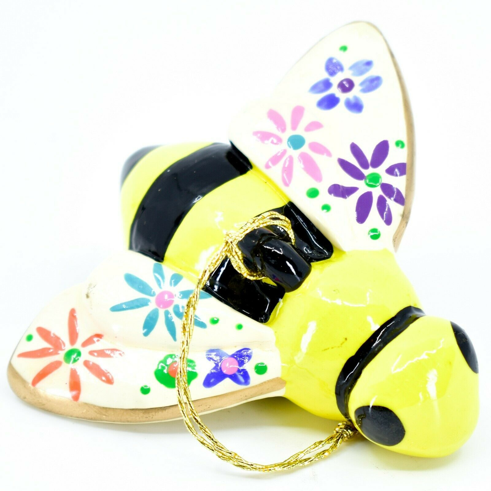Handcrafted Painted Ceramic Bumblebee Bee Confetti Ornament Made in Peru