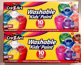 KIDS WASHABLE PAINT Pack 10 Count Kids Gift Bright Colors CRA-Z-ART NEW - $14.20