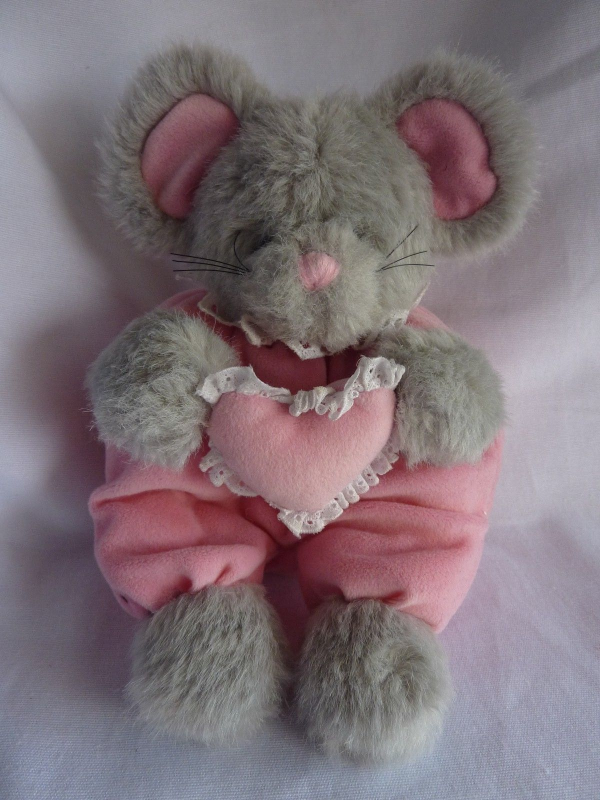 Mary Meyer Gray Mouse plush Pink Heart Stuffed Animal Vintage