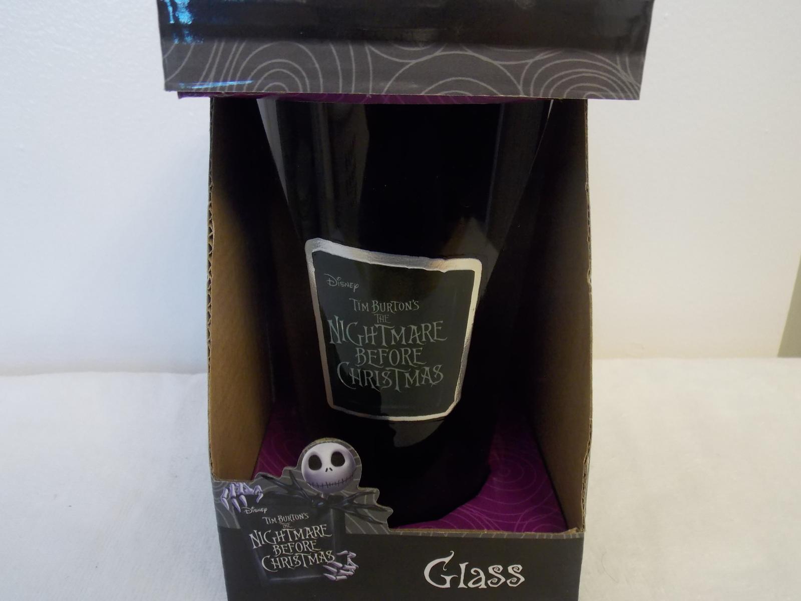Disney Nightmare Before Christmas Jack, Sally & Zero Glass