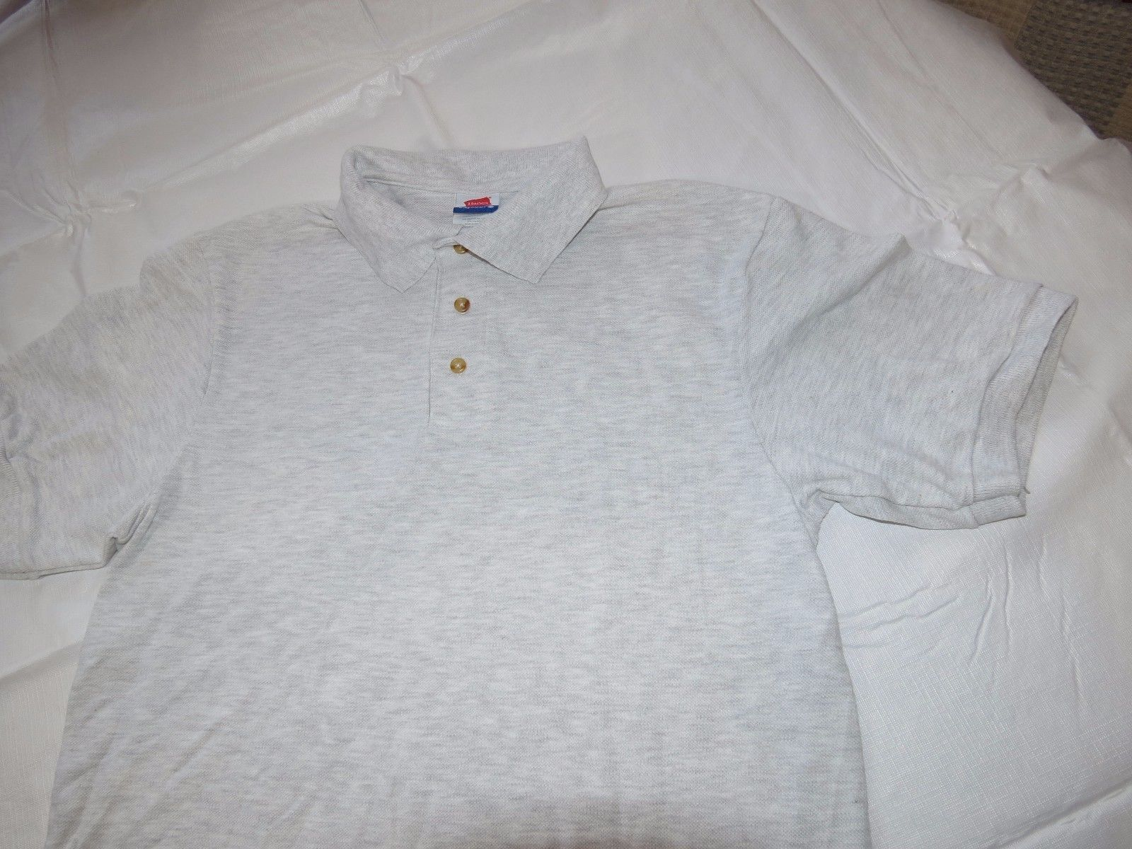 Hanes Stay Clean adult S 34-36 small mens lt grey ht short sleeve polo shirt NOS