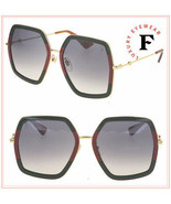 GUCCI 0106 Gold Green Web Stripe Oversized Gradient Sunglasses GG0106S W... - $366.30