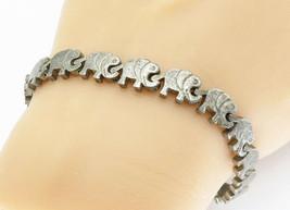 MEXICO 925 Silver - Vintage Dark Tone Elephant Link Chain Bracelet - B5777 - $70.99