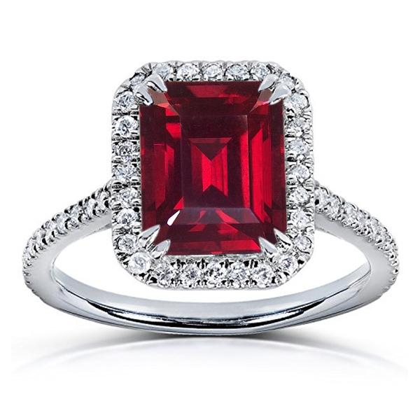 Engagement Wedding Ring Rectangular Shape Red Garnet White Gold Over 925 Silver