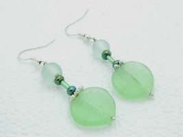 VTG Styled Silver Tone Green Art Glass Leaf Bead Dangle Earrings - $19.80