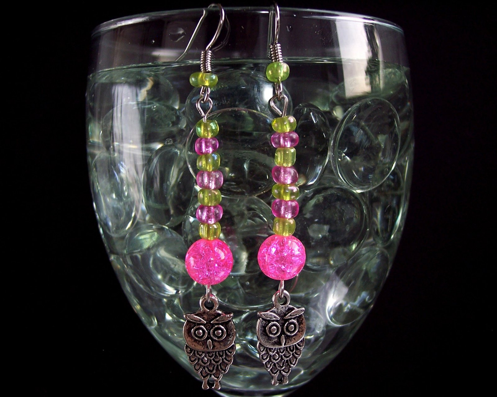 Owl Charm Earrings Green Pink and Silver image 2