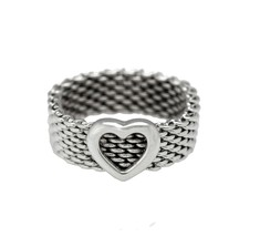 Authentic Tiffany & Co. 925 Sterling Silver Somerset Mesh Heart Ring Siz... - $134.95