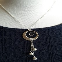 Silver Statement Necklace  and Earring Set/Fashion Necklace/ Silver Pendant - $20.00