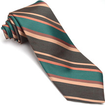 WEMBLEY 56L Brown Sand Green Dark Orange Striped Wool Blend Neck Tie - $59.39